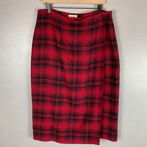 Talbots red wool plaid midi wrap skirt 16